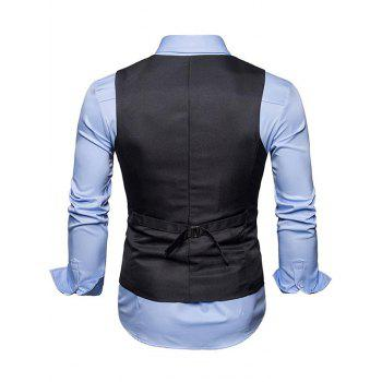 Single Breasted Belted V Neck Waistcoat - DEEP GRAY L