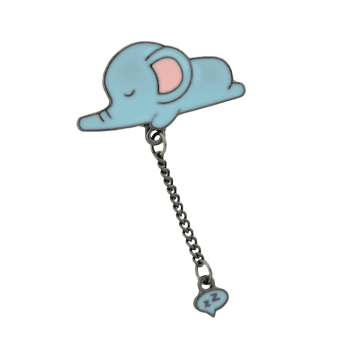 Cute Tiny Sleep Elephant Chain Brooch -  BLUE