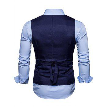 Slim Fit V Neck Double Breasted Waistcoat - PURPLISH BLUE S
