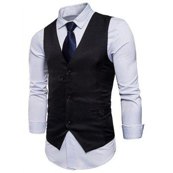 Single Breasted Belted V Neck Waistcoat - BLACK L
