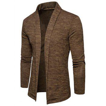 Space Dye Shawl Collar Open Front Cardigan - CAPPUCCINO M
