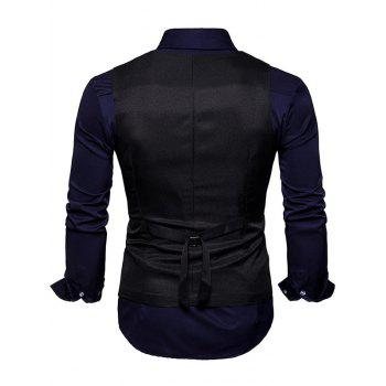 Slim Fit V Neck Double Breasted Waistcoat - BLACK 2XL