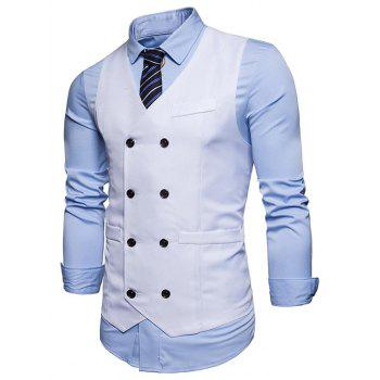 Slim Fit V Neck Double Breasted Waistcoat - WHITE WHITE