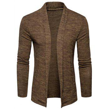 Space Dye Shawl Collar Open Front Cardigan - CAPPUCCINO CAPPUCCINO