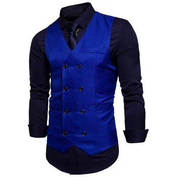 Slim Fit V Neck Double Breasted Waistcoat - ROYAL 2XL