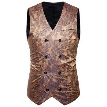 Double Breasted Paisley Pattern Waistcoat - GOLDEN GOLDEN