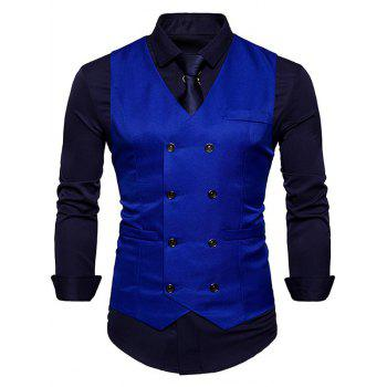Slim Fit V Neck Double Breasted Waistcoat - ROYAL ROYAL