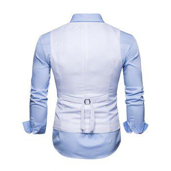 Slim Fit V Neck Double Breasted Waistcoat - WHITE S