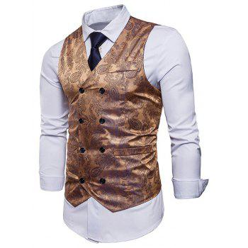 Double Breasted Paisley Pattern Waistcoat - GOLDEN XL