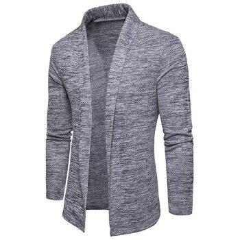 Space Dye Shawl Collar Open Front Cardigan - LIGHT GRAY M