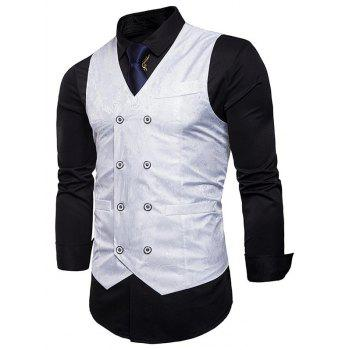 Double Breasted Paisley Pattern Waistcoat - WHITE WHITE
