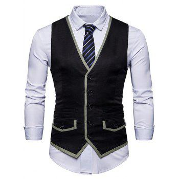 Contrast Trim Faux Pocket Single Breasted Waistcoat - BLACK BLACK