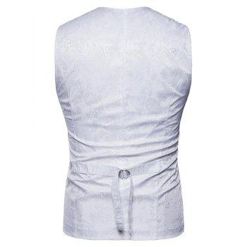 Double Breasted Paisley Pattern Waistcoat - WHITE XL