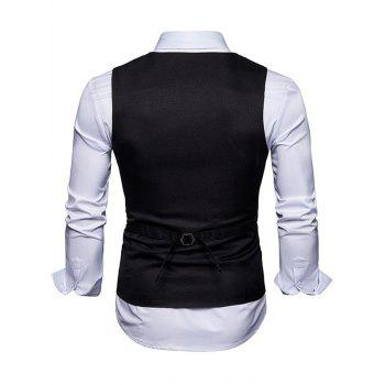 Contrast Trim Faux Pocket Single Breasted Waistcoat - BLACK XL