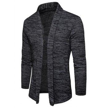 Space Dye Shawl Collar Open Front Cardigan - DEEP GRAY DEEP GRAY