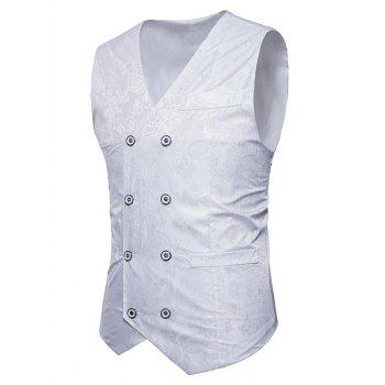 Double Breasted Paisley Pattern Waistcoat - WHITE L