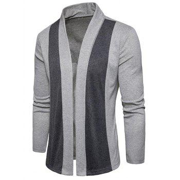 Shawl Collar Two Tone Open Front Cardigan - LIGHT GRAY M