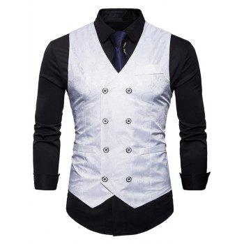 Double Breasted Paisley Pattern Waistcoat - WHITE M
