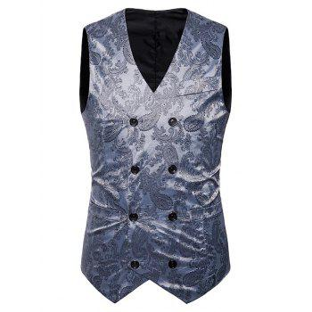 Double Breasted Paisley Pattern Waistcoat - SILVER SILVER