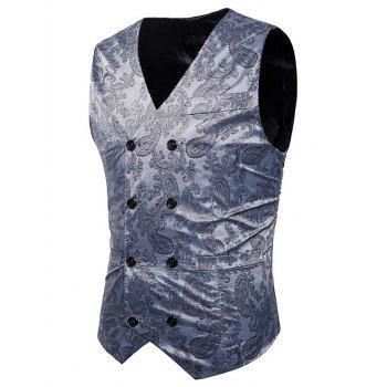 Double Breasted Paisley Pattern Waistcoat - SILVER 2XL