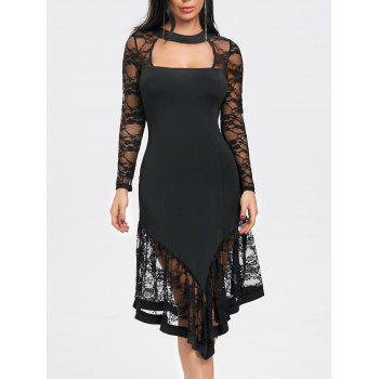 Lace Panel Cut Out Asymmetrical Club Dress - BLACK BLACK