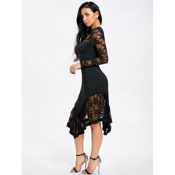 Lace Panel Cut Out Asymmetrical Club Dress - BLACK 2XL