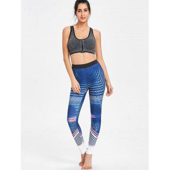 Pattern Lines Workout Leggings - CERULEAN L