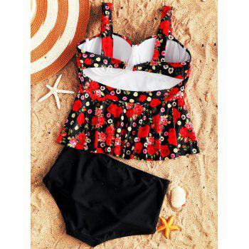 Floral Moulded Underwire Flounce Tankini Swimsuit - COLORMIX S
