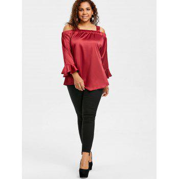 Valentine Plus Size Open Shoulder  Blouse - WINE RED 3XL