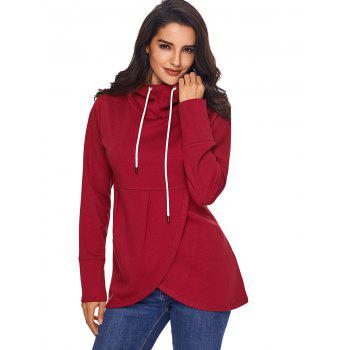 Overlap Pullover Drawstring Hoodie - RED XL