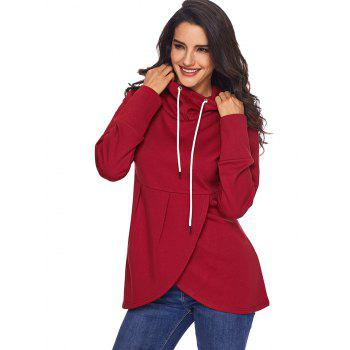 Overlap Pullover Drawstring Hoodie - RED RED