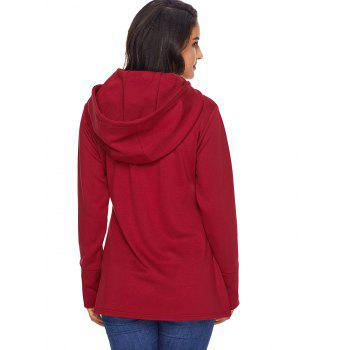 Overlap Pullover Drawstring Hoodie - RED S