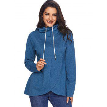 Overlap Pullover Drawstring Hoodie - BLUE 2XL