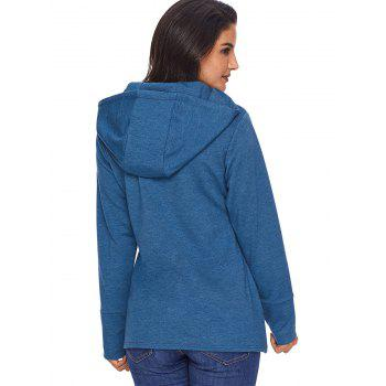 Overlap Pullover Drawstring Hoodie - BLUE L