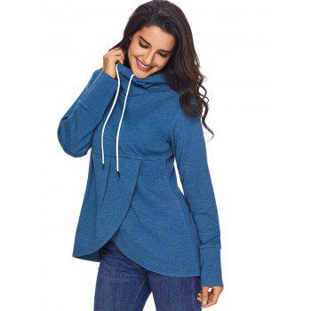 Overlap Pullover Drawstring Hoodie - BLUE BLUE