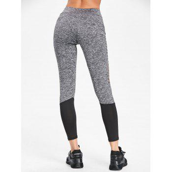 Space Dye Color Block Leggings - GRAY S