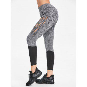 Hollow Out Heather Two Tone Workout Leggings - GRAY XL