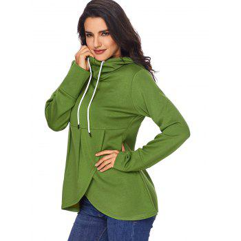 Overlap Pullover Drawstring Hoodie - GREEN S