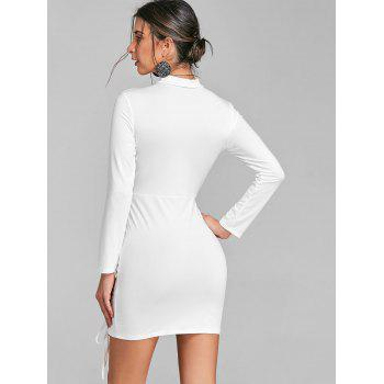 Lace Up Surplice Neck Choker Dress - WHITE M