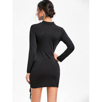 Lace Up Surplice Neck Choker Dress - BLACK BLACK