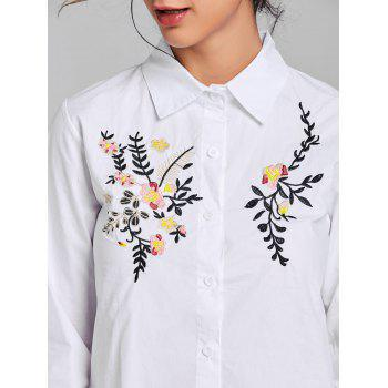 Long Sleeve Embroidery Shirt - WHITE WHITE