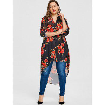 Valentine Plus Size High Low Rose Print Blouse - BLACK BLACK