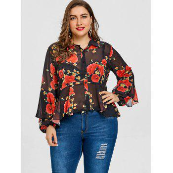 Valentine Skirted Rose Print Plus Size Blouse - BLACK BLACK
