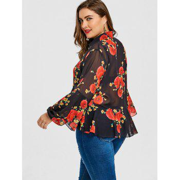 Valentine Skirted Rose Print Plus Size Blouse - BLACK 4XL