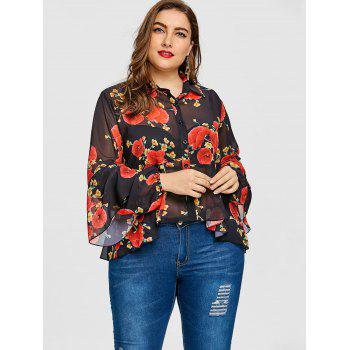 Valentine Skirted Rose Print Plus Size Blouse - BLACK 5XL