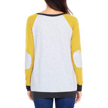 Kangaroo Pocket Color Block Elbow Patch Sweatshirt - YELLOW YELLOW