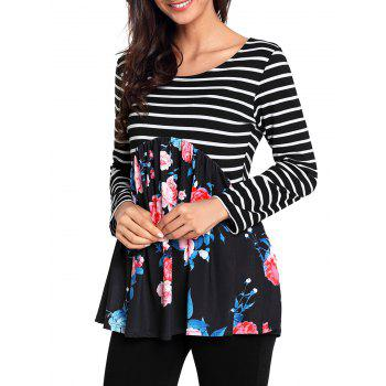 Striped and Floral Long Sleeve Top - BLACK S