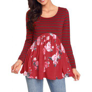 Striped and Floral Long Sleeve Top - RED M