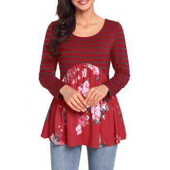 Striped and Floral Long Sleeve Top - RED RED