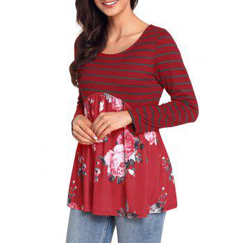 Striped and Floral Long Sleeve Top - RED S